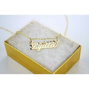 Custom 10K Gold Personalized Name Pendant Necklace